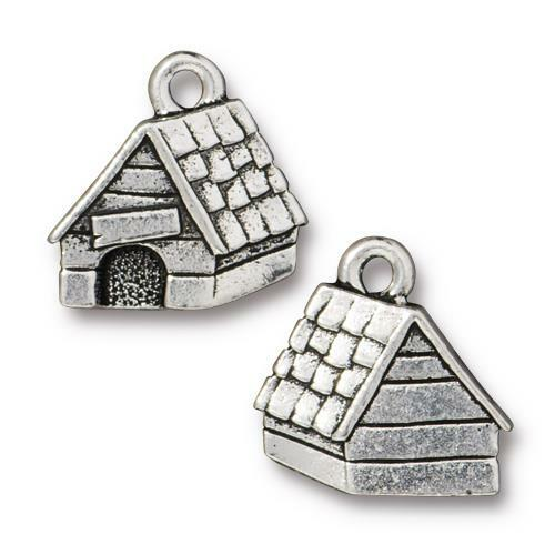 Dog House Charm, Antiqued Silver Plate, 20 per Pack