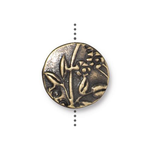 Jardin Puffed Bead, Oxidized Brass Plate, 10 per Pack