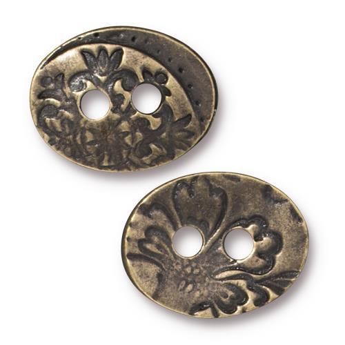 Jardin Button, Oxidized Brass Plate, 20 per Pack