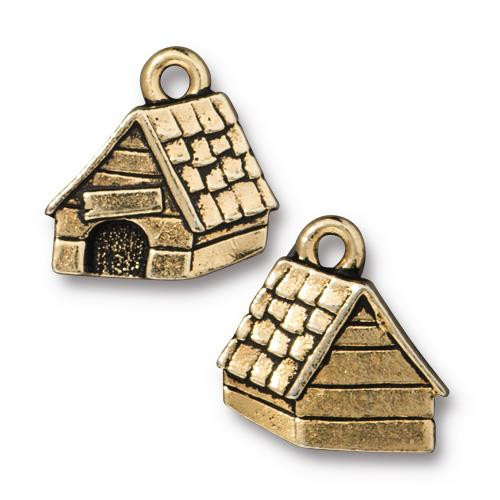 Dog House Charm, Antiqued Gold Plate, 20 per Pack
