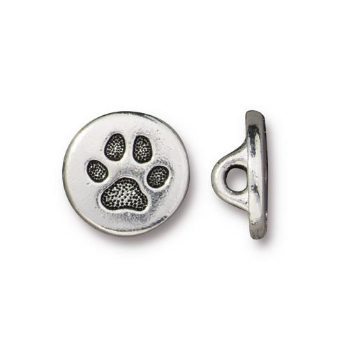 Small Paw Button, Antiqued Silver Plate, 20 per Pack