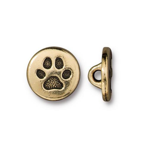 Small Paw Button, Antiqued Gold Plate, 20 per Pack