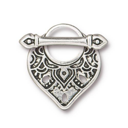 Temple Clasp Set, Antiqued Silver Plate, 10 per Pack