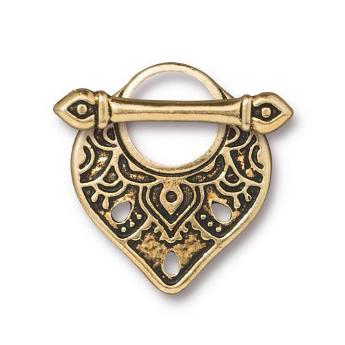 Temple Clasp Set, Antiqued Gold Plate, 10 per Pack