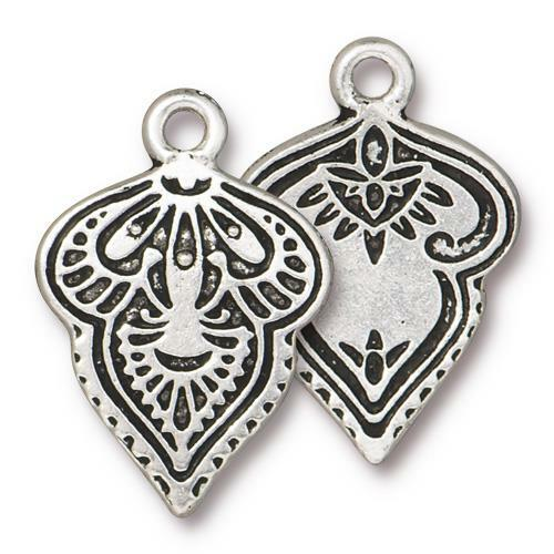 Mehndi Charm, Antiqued Silver Plate, 20 per Pack