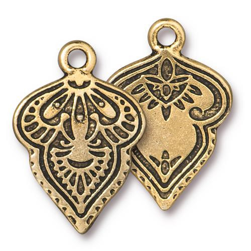 Mehndi Charm, Antiqued Gold Plate, 20 per Pack