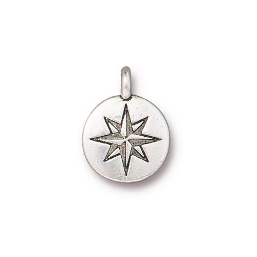 Mini North Star Charm, Antiqued Silver Plate, 20 per Pack