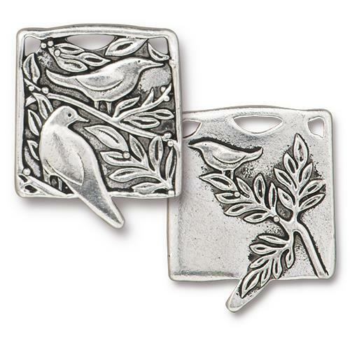 Botanical Birds Pendant, Antiqued Silver Plate, 6 per Pack