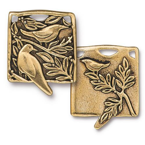 Botanical Birds Pendant, Antiqued Gold Plate, 6 per Pack