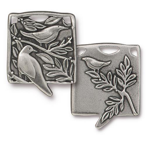Botanical Birds Pendant, Antiqued Pewter, 6 per Pack