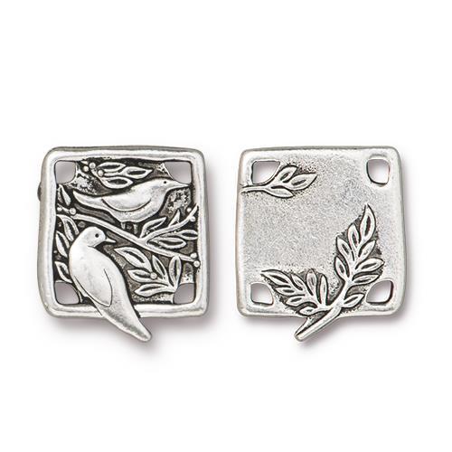Botanical Bird Link, Antiqued Silver Plate, 10 per Pack