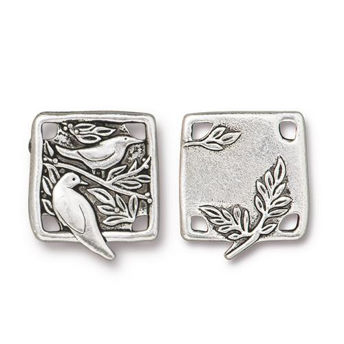 Botanical Bird Link, Antiqued Silver Plate, 10 per Pack