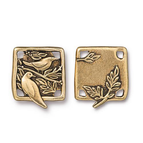 Botanical Bird Link, Antiqued Gold Plate, 10 per Pack