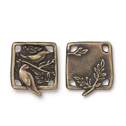 Botanical Bird Link, Oxidized Brass Plate, 10 per Pack
