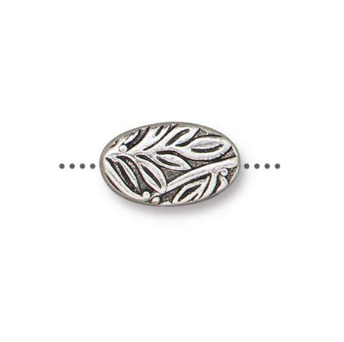 Botanical Bead, Antiqued Silver Plate, 20 per Pack