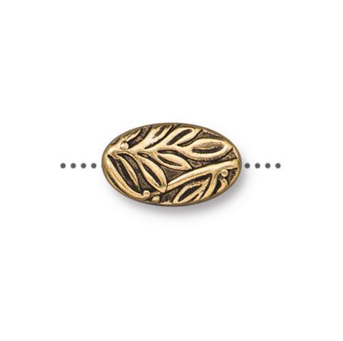 Botanical Bead, Antiqued Gold Plate, 20 per Pack
