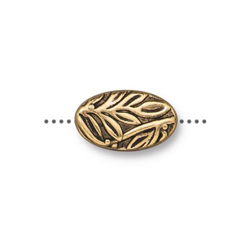 Botanical Bead, Antiqued Gold Plate, 20 per Pack
