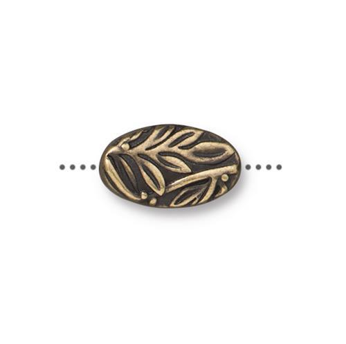 Botanical Bead, Oxidized Brass Plate, 20 per Pack