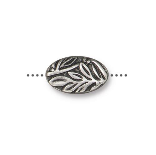 Botanical Bead, Antiqued Pewter, 20 per Pack