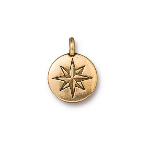 Mini North Star Charm, Antiqued Gold Plate, 20 per Pack