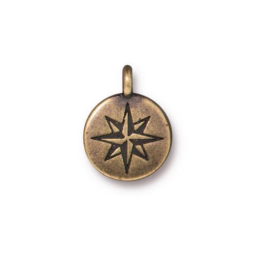 Mini North Star Charm, Oxidized Brass Plate, 20 per Pack