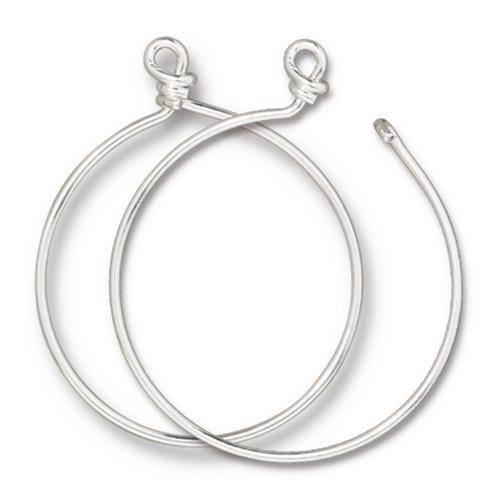 Charm Keeper Hoop 42mm inside diameter 15 gauge wire, Silver Plate, 6 per Pack