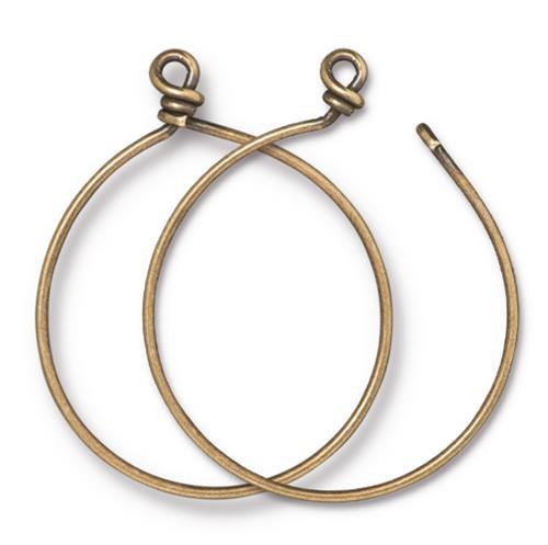Charm Keeper Hoop 42mm inside diameter 15 gauge wire, Oxidized Brass, 6 per Pack