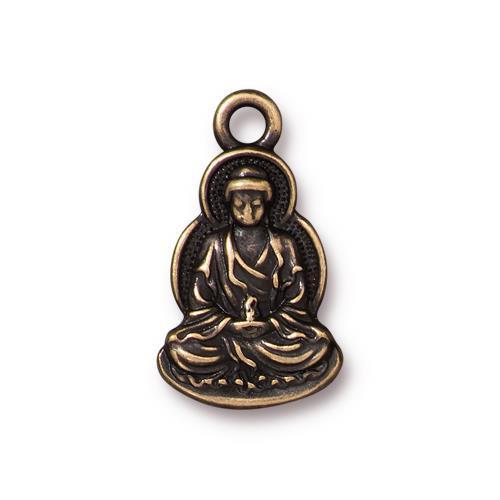 Sitting Buddha Charm, Oxidized Brass Plate, 20 per Pack
