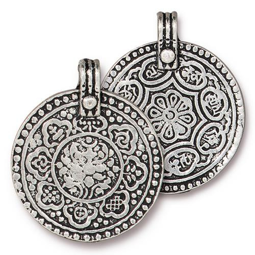 Eight Signs Pendant, Antiqued Silver Plate, 10 per Pack