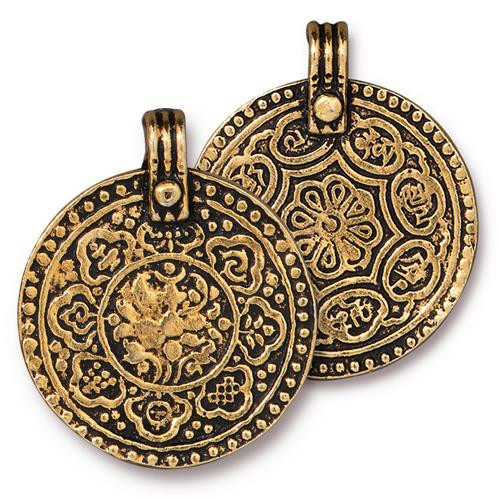 Eight Signs Pendant, Antiqued Gold Plate, 10 per Pack