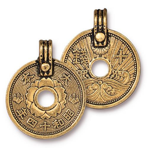 Asian Coin Charm, Antiqued Gold Plate, 10 per Pack