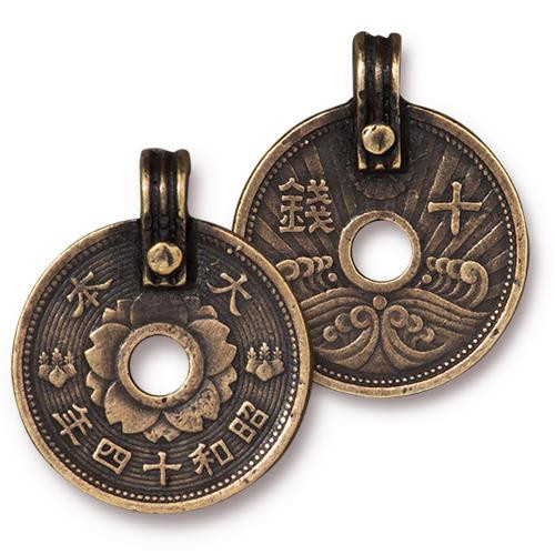 Asian Coin Charm, Oxidized Brass Plate, 10 per Pack