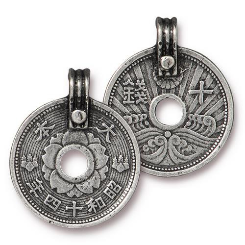 Asian Coin Charm, Antiqued Pewter, 10 per Pack