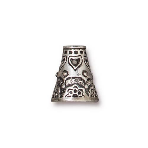 Flowering Cone, Antiqued Silver Plate, 10 per Pack