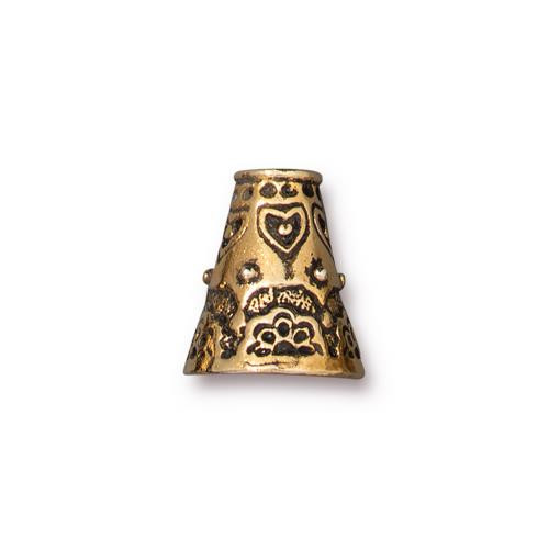 Flowering Cone, Antiqued Gold Plate, 10 per Pack