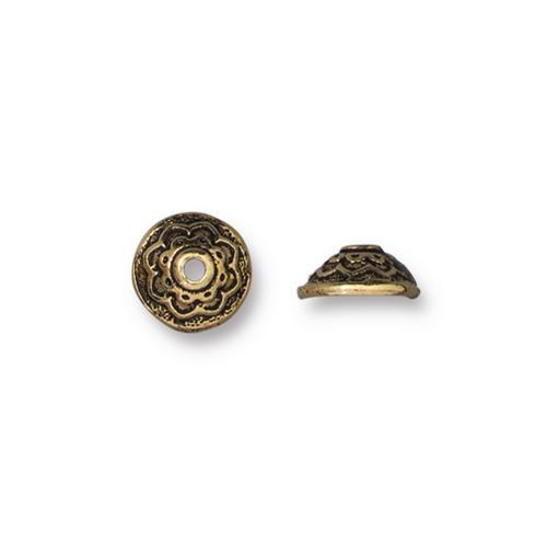 Lotus 7mm Bead Cap, Antiqued Gold Plate, 20 per Pack