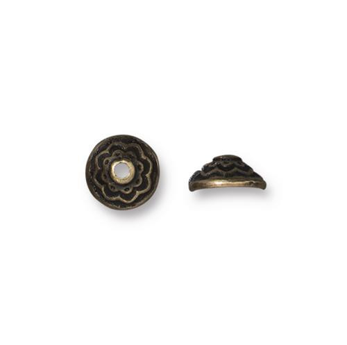 Lotus 7mm Bead Cap, Oxidized Brass Plate, 20 per Pack