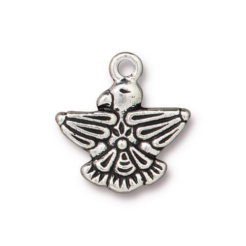 Thunderbird Charm, Antiqued Silver Plate, 20 per Pack