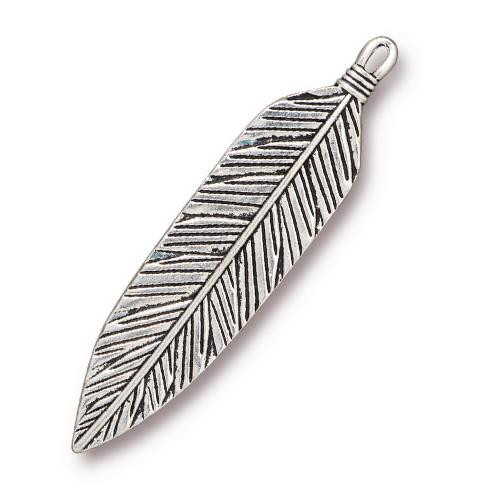 Feather 3 inch Pendant, Antiqued Silver Plate, 6 per Pack