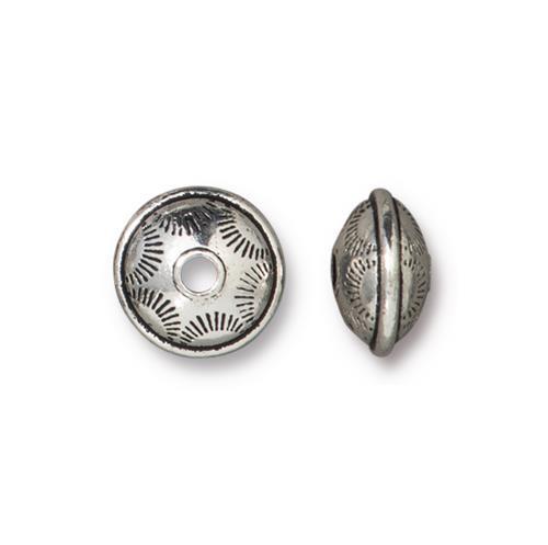Western Bead, Antiqued Silver Plate, 20 per Pack