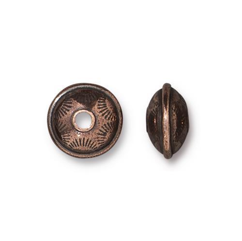 Western Bead, Antiqued Copper Plate, 20 per Pack