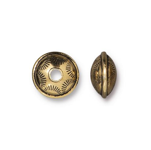 Western Bead, Antiqued Gold Plate, 20 per Pack