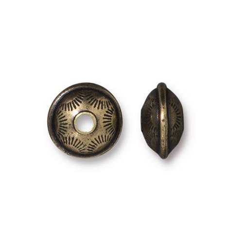 Western Bead, Oxidized Brass Plate, 20 per Pack