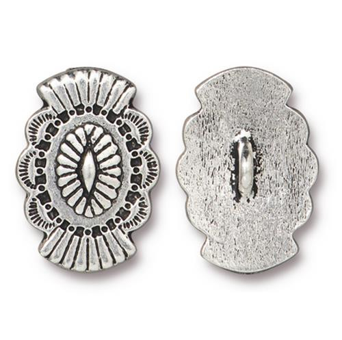 Western Button, Antiqued Silver Plate, 20 per Pack