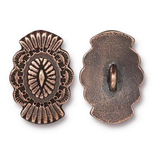 Western Button, Antiqued Copper Plate, 20 per Pack