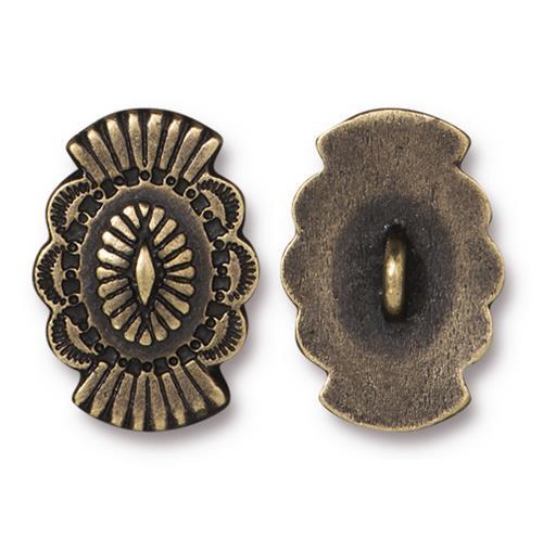 Western Button, Oxidized Brass Plate, 20 per Pack