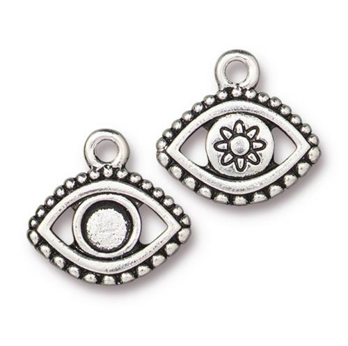 Evil Eye Bezel Charm, Antiqued Silver Plate, 20 per Pack
