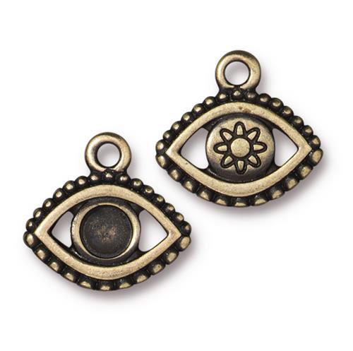 Evil Eye Bezel Charm, Oxidized Brass Plate, 20 per Pack