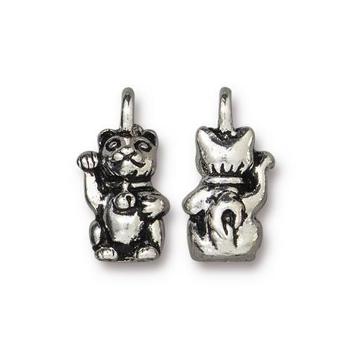Beckoning Kitty Charm, Antiqued Silver Plate, 20 per Pack