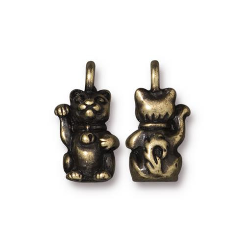 Beckoning Kitty Charm, Oxidized Brass Plate, 20 per Pack